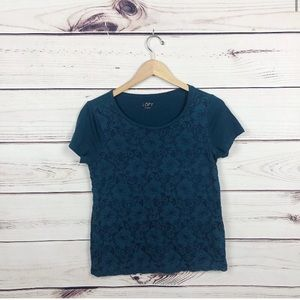 Ann Taylor LOFT Turquoise Blue Lace T Shirt Small